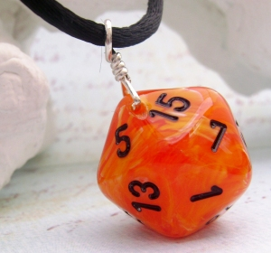 Orange Dice Pendant