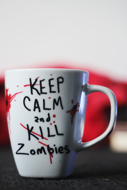 When everything gets really bad, and the zombie apocalypse is here, we'll need a hot drink to keep going. This mug by Devin Hendrick of DevinsEmporium will be a good reminder.