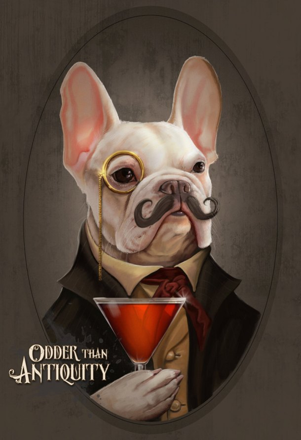 With this picture, I am convinced all proper French Bulldogs should have monocles. I think Mortecai, by Odder Than Antiquity, would agree.