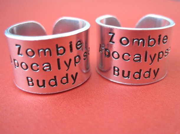 I know who's rescuing me when the zombie apocalypse comes. Do you? Aluminum rings by Jessica of TesoroJewelry.