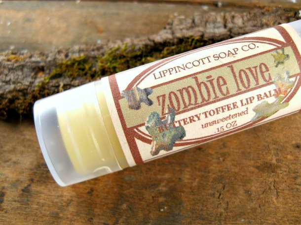 Make sure your lips don't like like the undead during the zombie apocalypse with Zombie Love lip balm from Angela Lippincott and LippincotSoapCo