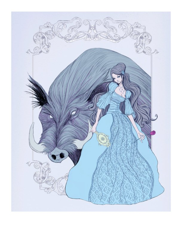 Illusions Artwork produced this beautiful interprettation of Beauty and the Beast. I could see this one illustrating a book of fairy tales.