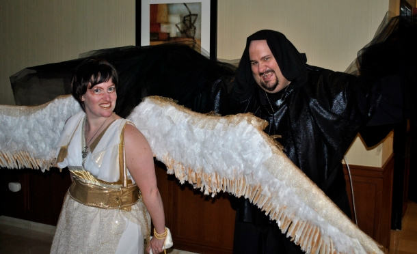 Mark and I in our coordinated costumes, dark and light angels. We won best costume for the event.
