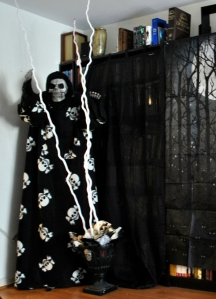 Yes, the skeleton is in a Snuggie. Mark put it on him to make me laugh and, well, it stayed.