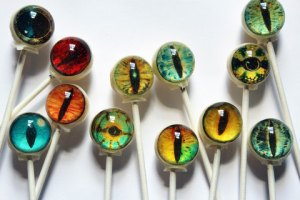 Yes, these are edible! VintageConnfections makes these awesome graphic lollipops - sure to be a unique addition to your Halloween.