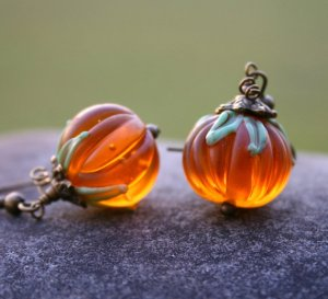 It's the time of year where pumpkins turn up everywhere. How about some elegant earrings in glass from InspiredTheory?
