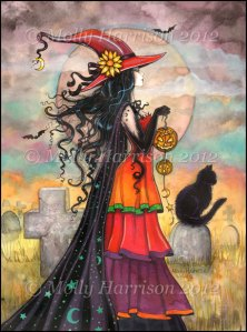 I love witches. Dark, light, or colorful, Halloween or all year round. This ACEO by Molly Harrison is a stunning colorful witch. I kind of want to make that costume now!