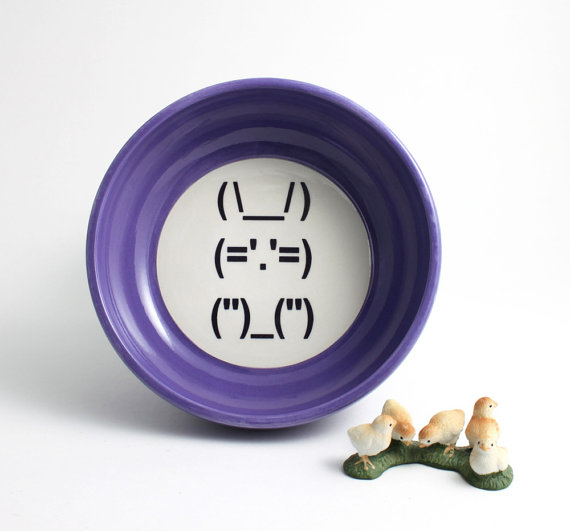 How about some old school geekery with this bunny plate from LL Townley Ceramic?