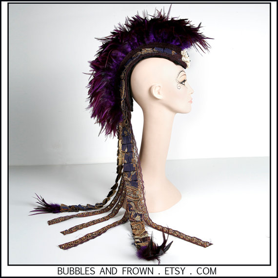 Wow, what a headdress! Bubbles and Frown made this amazing feathered mohawk.