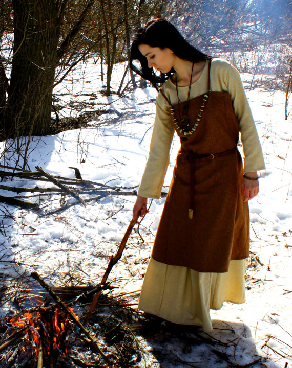 For all of my fellow costumers, how about this lovely apron dress for Viking style from Slav Medieval Shop?