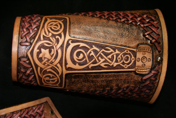 I always admire nice leather work. How about these Thor's hammer bracers from Outlaw Leather USA?