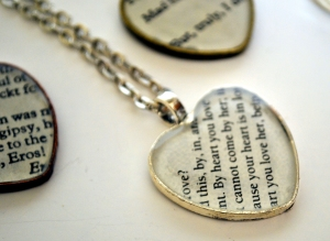 Necklaces with people's favorite Shakespear plays have been my online hot seller of the year.
