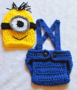 Everyone thinks you're having a baby, but you know he's a future minion. Outfit him right with this crocheted set by ChildishDreams.
