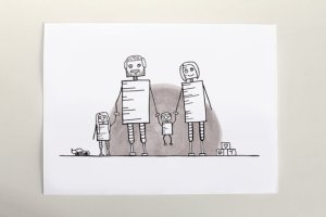 Commemorate your growing family with this adorable custom family portrait - with robots! Drawn by Debmon Designs.