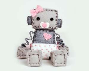 What baby doesn't need their very own robot? Okay, it's for display, not play, but this baby robot by GinnyPenny is precious!