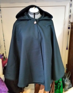 This custom cloak is currently sitting in my studio, waiting for its new home.