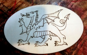 I was in the mood for woodburning last week. Here's a Welsh dragon, done in line art, waiting for some shading.